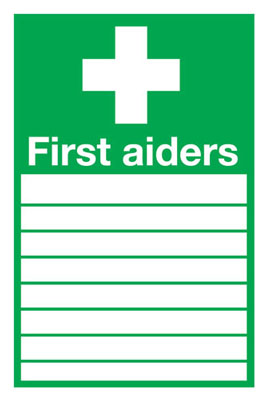 300 x 200 mm first aiders (with spaces) self adhesive vinyl labels.