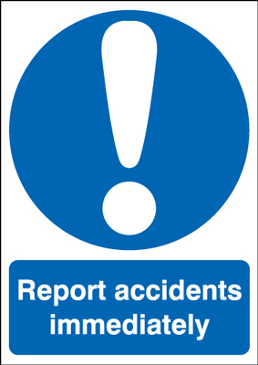 150 x 125 mm report accidents immediately self adhesive vinyl labels.