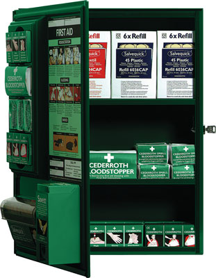 first aid cabinet (stocked with first aid supplies)