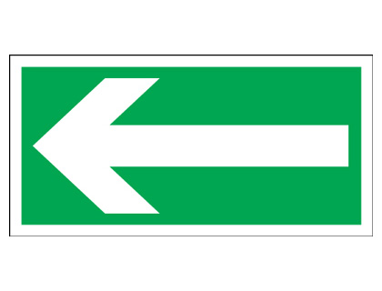 200 x 400 mm arrow left 1.2 mm rigid plastic signs with self adhesive backing.