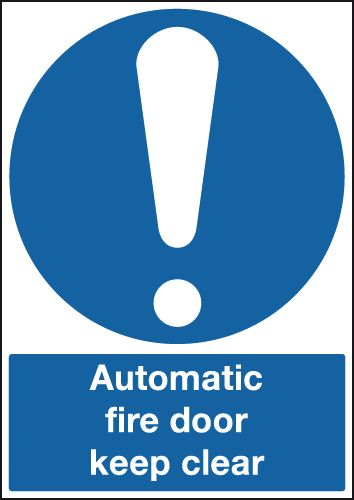 Fire exit signs - A5 automatic fire door keep clear self adhesive vinyl labels.