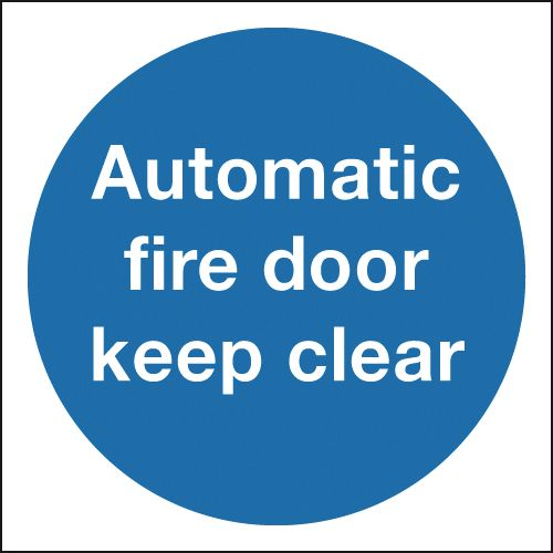 100 x 100 mm automatic fire door keep clear self adhesive vinyl labels.