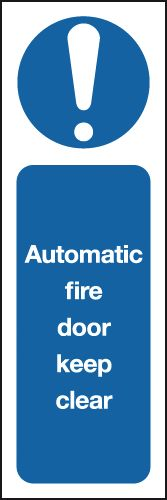 150 x 50 mm Automatic Fire Door Keep Clear Fire Signs