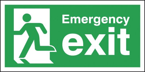 150 x 450 mm emergency exit running man left self adhesive vinyl labels.