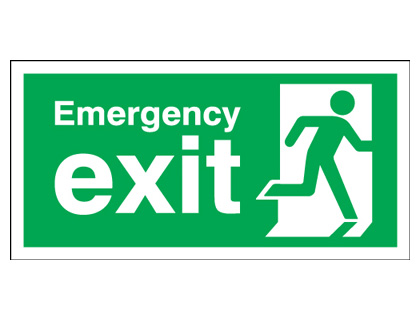 150 x 450 mm emergency exit man right 1.2 mm rigid plastic signs with self adhesive backing.