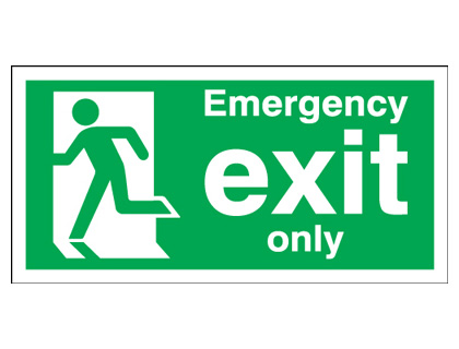 UK fire escape signs - 150 x 450 mm NG emergency exit only nite glo self adhesive class B