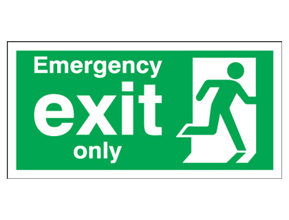 150 x 450 mm emergency exit only 1.2 mm rigid plastic signs with self adhesive backing.