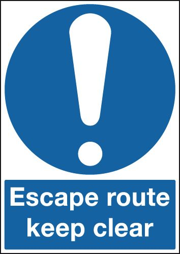 A3 escape route keep clear 1.2 mm rigid plastic signs with self adhesive backing.