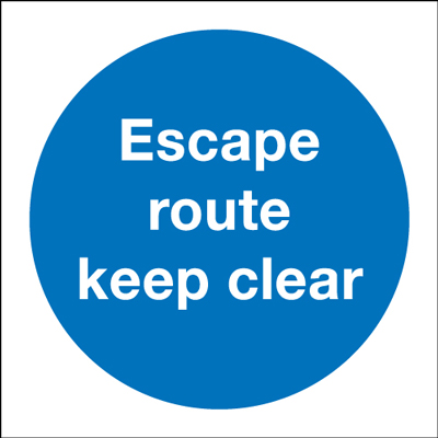 150 x 150 mm escape route keep clear 1.2 mm rigid plastic signs with self adhesive backing.