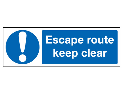 150 x 450 mm escape route keep clear 1.2 mm rigid plastic signs.