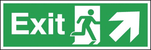 Fire exit signs - 150 x 450 mm exit arrow diagonal up right 1.2 mm rigid plastic signs with self adhesive backing.