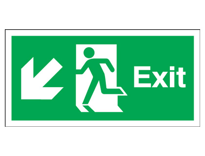 Fire exit signs - 150 x 450 mm exit arrow diagonal left down self adhesive vinyl labels.