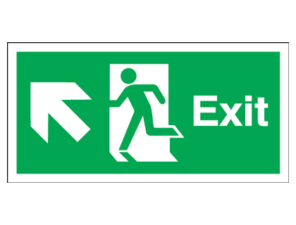 Fire exit signs - 150 x 450 mm exit arrow diagonal left up self adhesive vinyl labels.