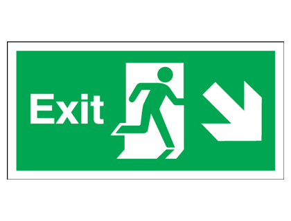 Fire exit signs - 150 x 450 mm exit arrow diagonal right down 1.2 mm rigid plastic signs with self adhesive backing.