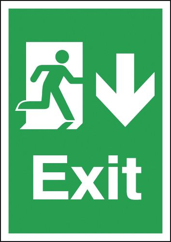 Fire exit signs - A4 exit arrow down 1.2 mm rigid plastic signs with self adhesive backing.