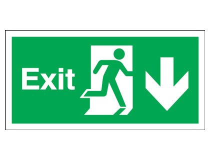 Fire exit signs - 150 x 450 mm exit arrow down 1.2 mm rigid plastic signs with self adhesive backing.