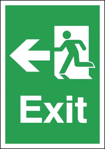 Fire exit signs - A5 exit arrow left 1.2 mm rigid plastic signs with self adhesive backing.