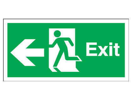 Fire exit signs - 150 x 450 mm exit arrow left 1.2 mm rigid plastic signs with self adhesive backing.