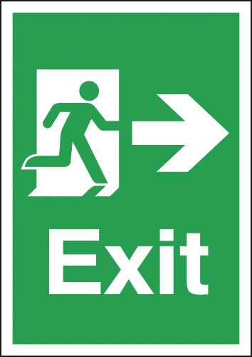Fire exit signs - A3 exit arrow right 1.2 mm rigid plastic signs with self adhesive backing.
