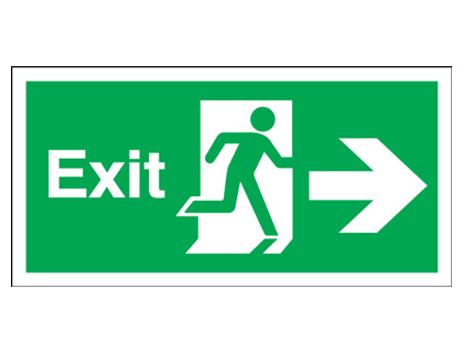 Fire exit signs - 150 x 450 mm exit arrow right self adhesive vinyl labels.