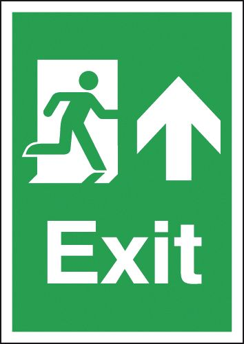 Fire exit signs - A5 exit arrow up 1.2 mm rigid plastic signs with self adhesive backing.