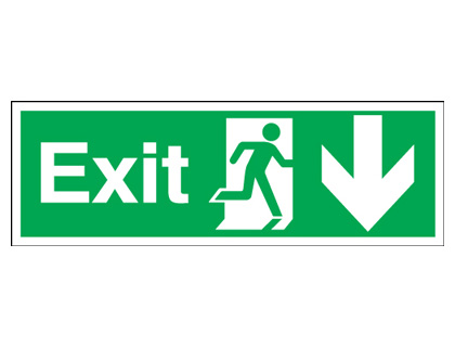 150 x 450 mm exit man arrow down 1.2 mm rigid plastic signs with self adhesive backing.