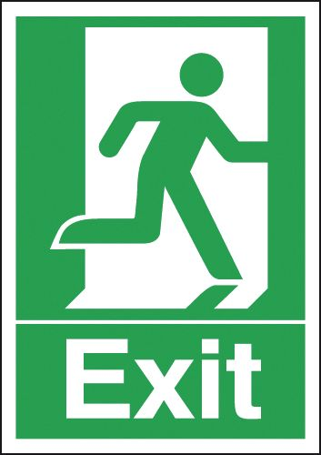 A2 exit man right 1.2 mm rigid plastic signs with self adhesive backing.