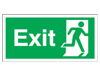 150 x 450 mm NG exit man right nite glo self adhesive class B