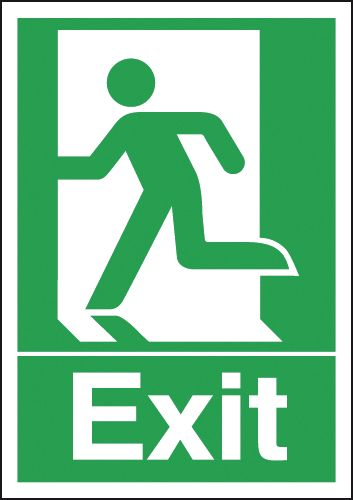 Fire exit signs - A5 exit (running man symbol) 1.2 mm rigid plastic signs with self adhesive backing.