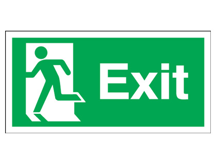 150 x 300 mm exit running man left self adhesive vinyl labels.