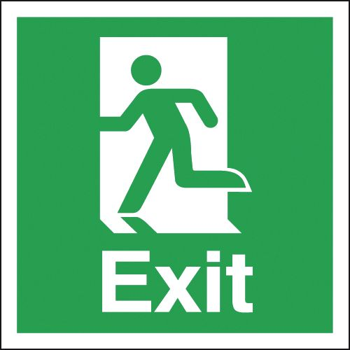Fire exit signs - 150 x 150 mm exit (running man symbol) 1.2 mm rigid plastic signs with self adhesive backing.