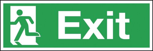Fire exit signs - 150 x 450 mm exit (symbol on left) rigid 1.2 mm rigid plastic signs.