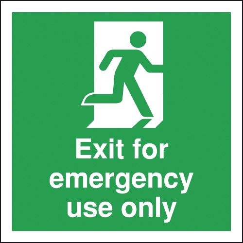 Fire exit signs - 150 x 150 mm exit for emergency use only 1.2 mm rigid plastic signs with self adhesive backing.