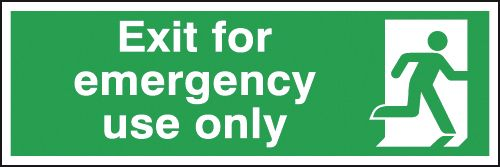 150 x 450 mm exit for emergency use only self adhesive vinyl labels.