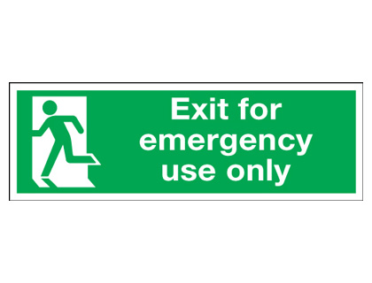 150 x 450 mm NG exit for emergency use only nite glo self adhesive class B