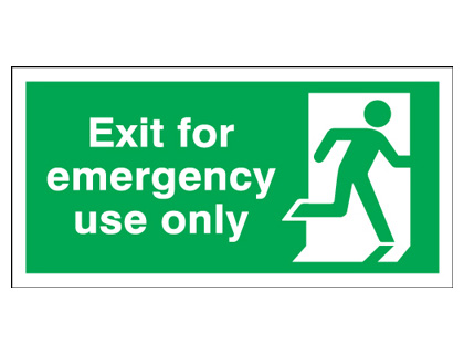 150 x 450 mm NG exit for emergency use only nite glo plastic class B 1.2 mm