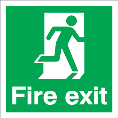 UK Fire Exit Signs - 150 x 150 mm fire exit man right 1.2 mm rigid plastic signs with self adhesive backing.