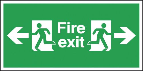 150 x 300 mm fire exit arrow left & right self adhesive vinyl labels.