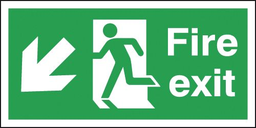 UK Fire Exit Signs - 150 x 300 mm fire exit man arrow down left 1.2 mm rigid plastic signs with self adhesive backing.