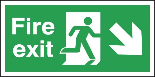 UK Fire Exit Signs - 150 x 450 mm fire exit man arrow down right self adhesive vinyl labels.