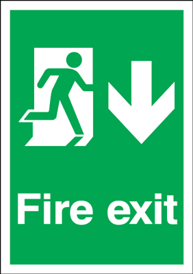 UK Fire Exit Signs - A2 fire exit man arrow down self adhesive vinyl labels.