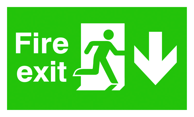 UK Fire Exit Signs - 300 x 600 mm fire exit man arrow down 1.2 mm rigid plastic signs with self adhesive backing.
