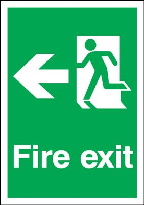 UK Fire Exit Signs - A2 fire exit man arrow left 1.2 mm rigid plastic signs with self adhesive backing.