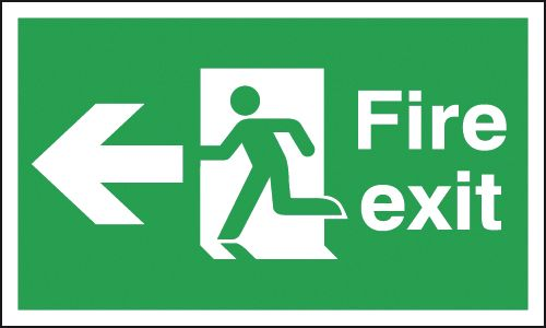 UK Fire Exit Signs - 150 x 450 mm fire exit man arrow left 1.2 mm rigid plastic signs with self adhesive backing.