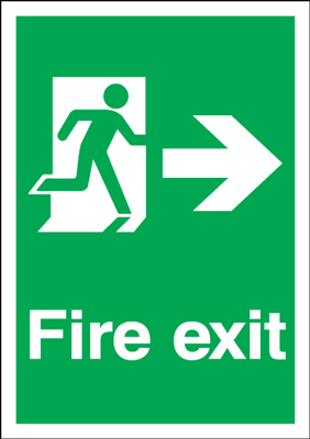 UK Fire Exit Signs - A2 fire exit man arrow right 1.2 mm rigid plastic signs with self adhesive backing.