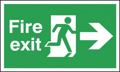 UK Fire Exit Signs - 300 x 600 mm fire exit man arrow right 1.2 mm rigid plastic signs with self adhesive backing.
