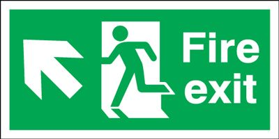 UK Fire Exit Signs - 150 x 450 mm fire exit man arrow up left 1.2 mm rigid plastic signs with self adhesive backing.