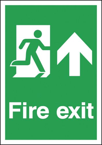 UK Fire Exit Signs - A2 fire exit man arrow up 1.2 mm rigid plastic signs with self adhesive backing.