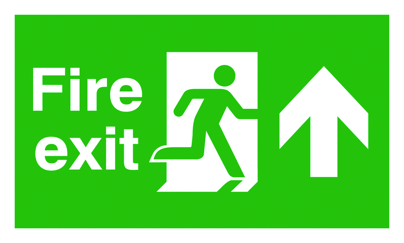 UK Fire Exit Signs - 150 x 450 mm fire exit man arrow up 1.2 mm rigid plastic signs with self adhesive backing.