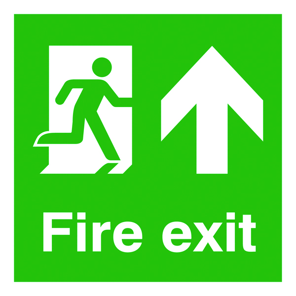 UK Fire Exit Signs - 450 x 450 mm fire exit man arrow up self adhesive vinyl labels.
